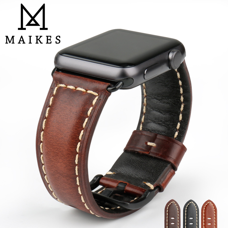 MAIKES Watch Accessories Genuine Leather Watchband For Apple Watch Strap Series 3/2/1 iWatch & Apple Watch Band 42mm 38mm цена