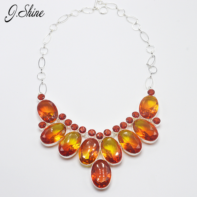 JShine Costume Jewelry Statement Necklace Gradient Red Crystal Collares Necklaces & Pendants Bijoux Christmas Colar Feminino
