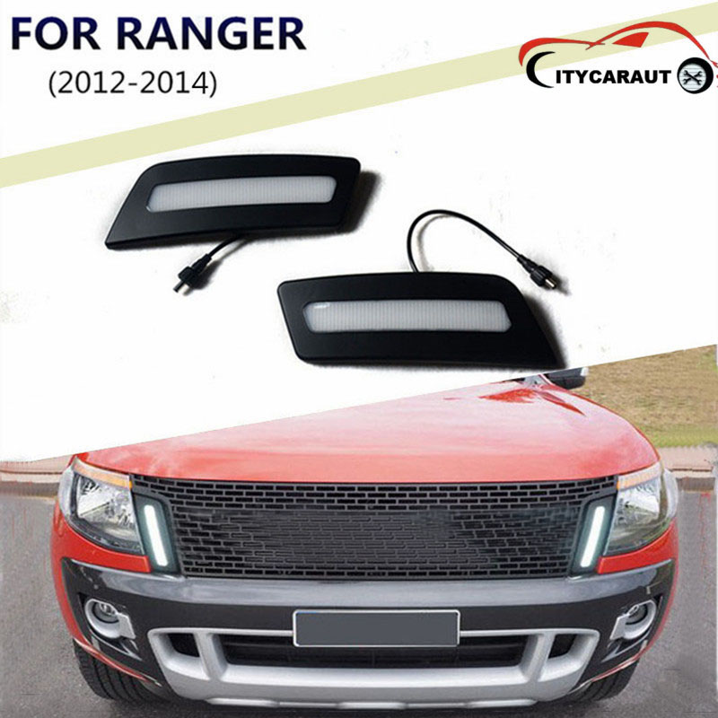 FIT for  Ranger LED Light Guide Daytime Running Lights, 2012~2014 Front Bumper Light, Fog Lamp case 1:1 Replacement front bumper led fog lamp daytime running light replacement assembly 2p for lexus rx rx350 rx450h 2010 2011 2012 2013
