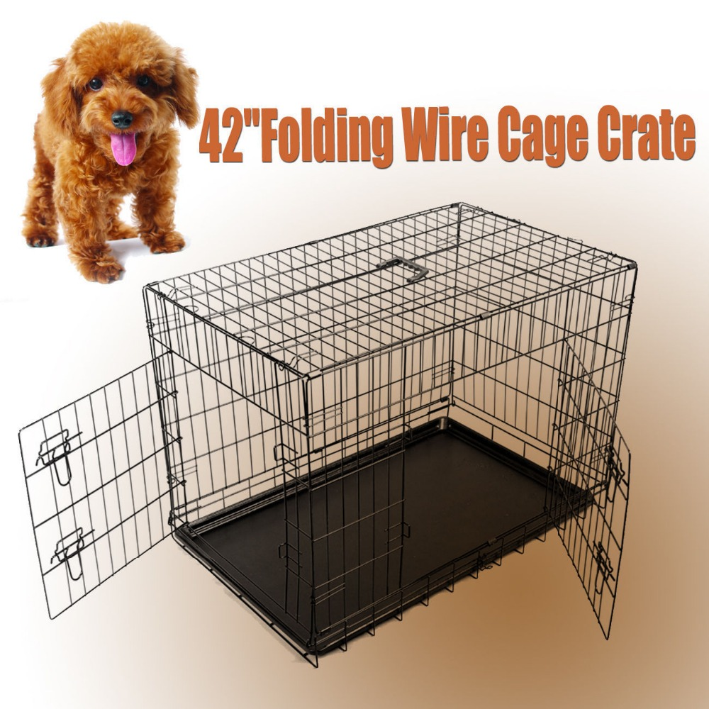 42 Dog Cage Metal Standard Puppy Crate Extra Large Folding Cages