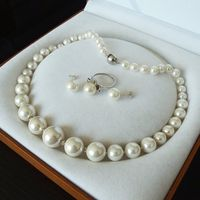 Wholesale Good 07887 White Shell Pearl Luxury Ring Earring Necklace Set