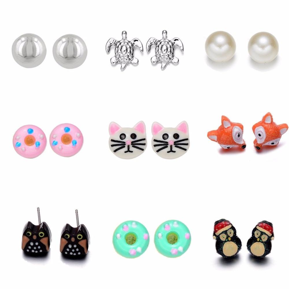 Onnea 9 Pairs Hewan Bunga Stud Earrings Set untuk Wanita Gadis Anak Lucu Kura-kura Owl Penguin Bola Donat Earring Set Campuran