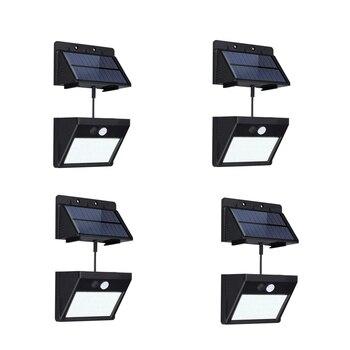 4 lumières solaires fendues de paquet extérieur imperméabilisent la lumière de mur de capteur de mouvement 20 Led avec automatique On/Off pour le jardin de cour de plate-forme de Patio