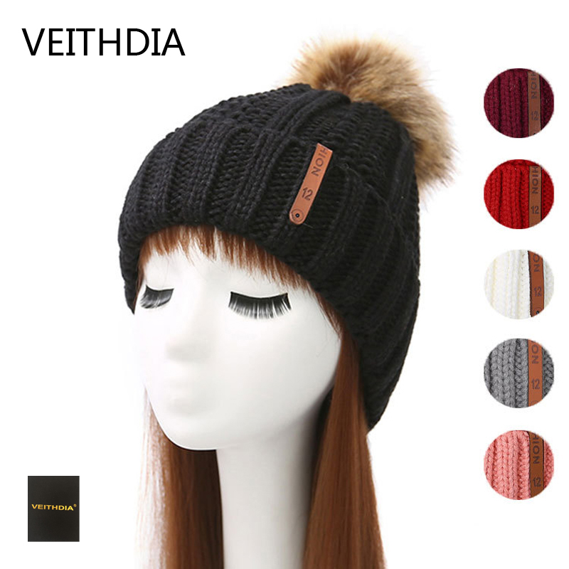 VEITHDIA Mink and fox fur ball cap pom poms winter hat for women girl 's hat knitted beanies cap brand new thick female cap 3 2017 new fur ball cap pom poms keep warm winter hat for women girl s hat knitted beanies letter brand new thick female capm 003
