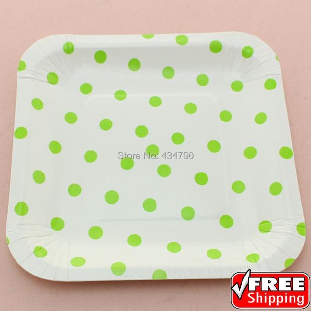 60pcs 7\  Square Elegant Paper Plates Green Polka DotParty Decorations Snack Dinner Serving  sc 1 st  AliExpress.com & 60pcs 7\