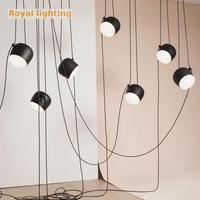 Cafe Long cable beanstalk lamp Chandelier Restaurant Led aluminum drum suspension light E27 Bongo Bar Lgiht dining Pendientes