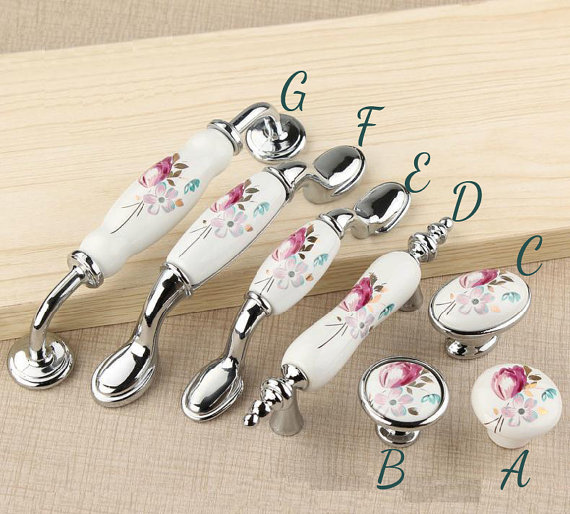 Dresser Knob Drawer Pull Handles Cabinet Knob White Silver Flower Kitchen  Cupboard Handle Pull Rustic Bathroom d3126aae3ee1