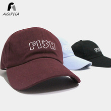 New Style Letter Fish Cotton Baseball Cap For Women Men Fitted Black Summer Dad Hats Type QQ01 Free Shipping