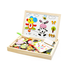 100+PCS Wooden Magnetic Puzzle Figure Animals Vehicle Circus Drawing Board Educational Toy Kids Jigsaw Toy Christmas Gifts