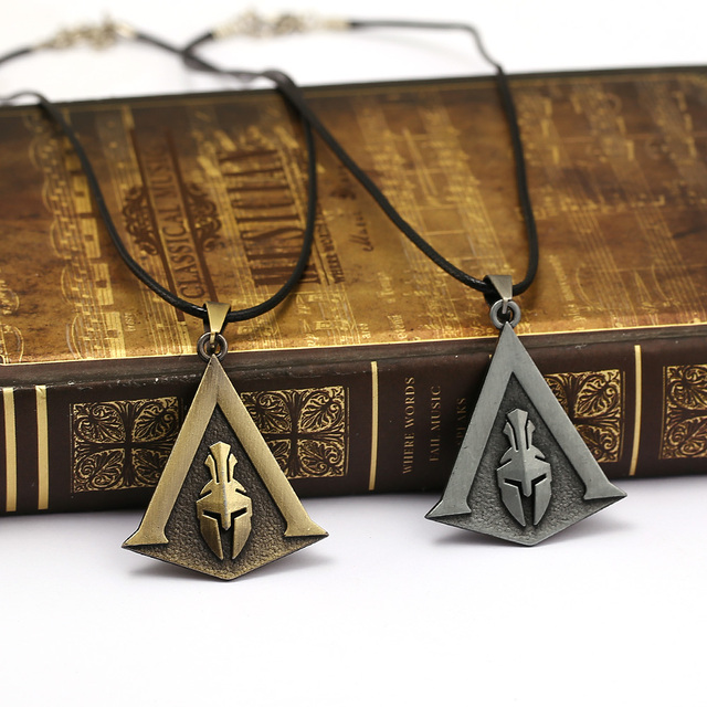 Assassin's Creed Odyssey Necklace Assassins Logo Metal Pendant Rope Chain Choker Necklaces Toy Men Charm Gifts Game Jewelry 5