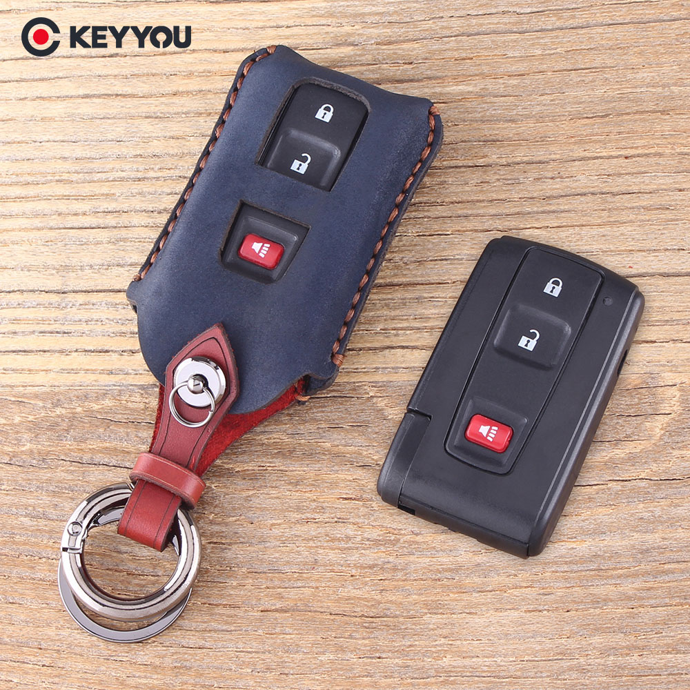 KEYYOU Protector 3 Buttons Remote Genuine Leather Key Case Shell For Toyota Prius 2004-2009 2+Panic Buttons Car Key Cover