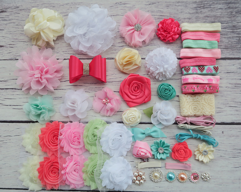 DIY Headband Making Kit, Shower Headband Station Kit,First Birthday Party Headband Kit,Hair Bow Kit ,Coral,ivory ,white,S33 цена и фото