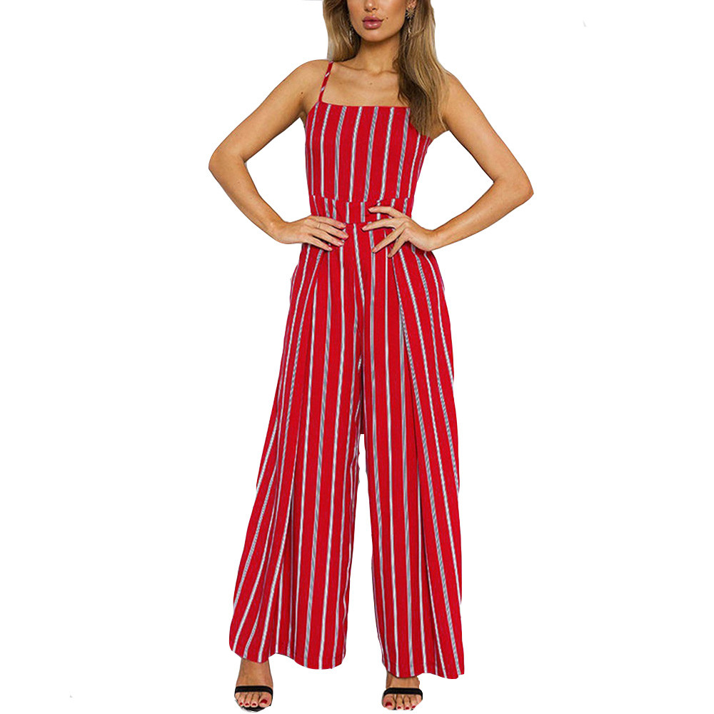 CHAMSGEND 2020 Summer Beach Rompers Womens Jumpsuit Casual Sleeveless Striped Jumpsuit Clubwear Wide Leg Pants Outfit