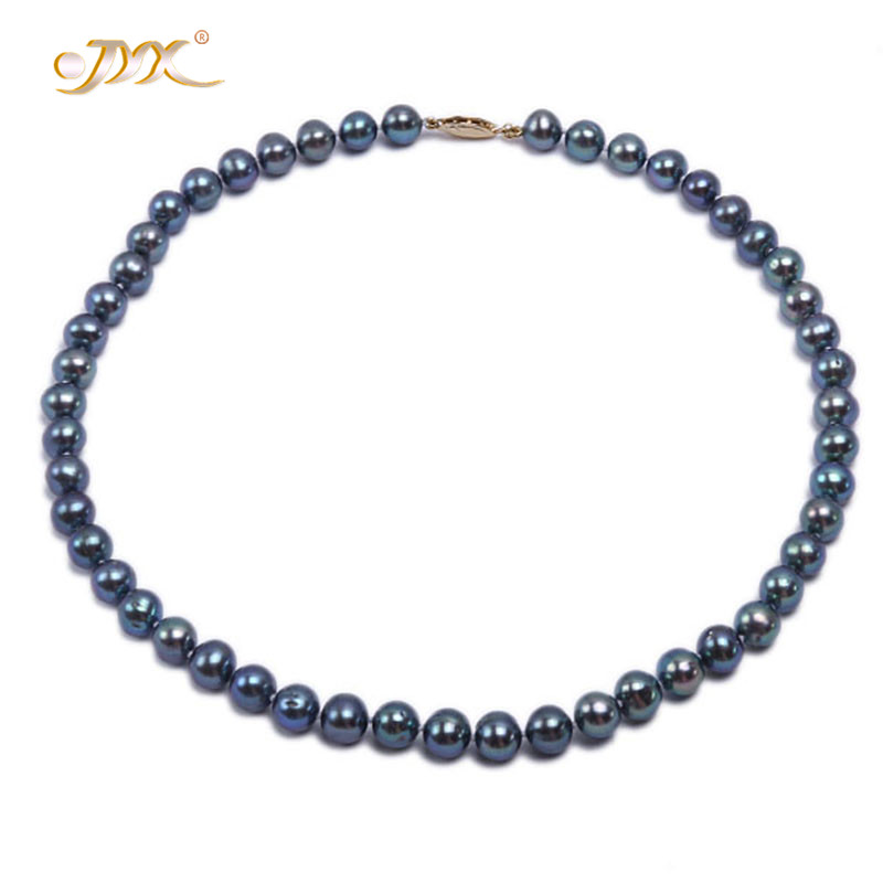 JYX Women Choker necklace 8-8.5mm Bluish Black Round natural Freshwater Cultured Necklace Women Real Pearl Jewelry ChristmasJYX Women Choker necklace 8-8.5mm Bluish Black Round natural Freshwater Cultured Necklace Women Real Pearl Jewelry Christmas