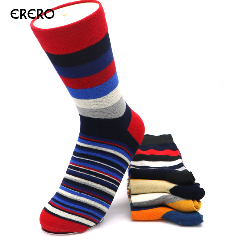 5Pair Mens Socks Men Stripes Blend Cotton Socks Male Wedding Gift Calcetines Hombre Funny Socks for Men Fashion Colorful EFERO