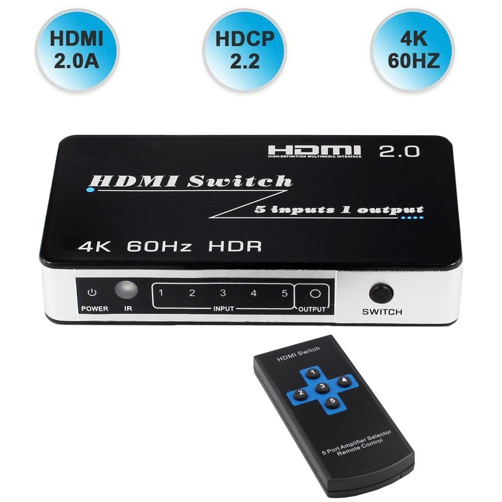 2019 Nouveau HDMI 2.0 Commutateur HDR Support HDCP 2.2 5 Port HDMI Commutateur 2.0 4 k 60 hz HDMI Commutateur switcher 2.0 Auto HDMI Commutateur 3 Port 4 k