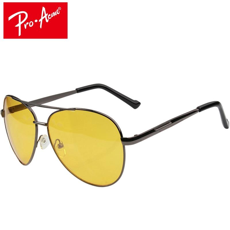 Pro Acme Pilot نظارات للرؤية الليلية القيادة الأصفر عدسة كلاسيكي مكافحة وهج نظارات السلامة سائق الرؤية للرجال CC0101