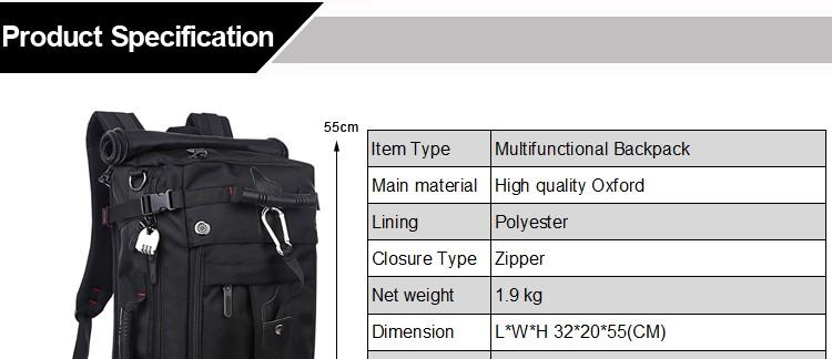 KAKA Men Backpack Travel Bag Large Capacity Versatile Utility Mountaineering Multifunctional Waterproof Backpack Luggage Bag 1
