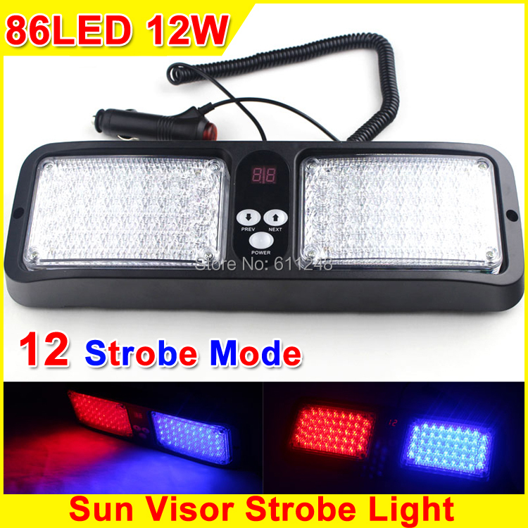 12W Super Bright Visor Emergency Lights Police Led Strobe Light Fog Warning Lights 86 LED Fire Engineering Truck Strobe Llights