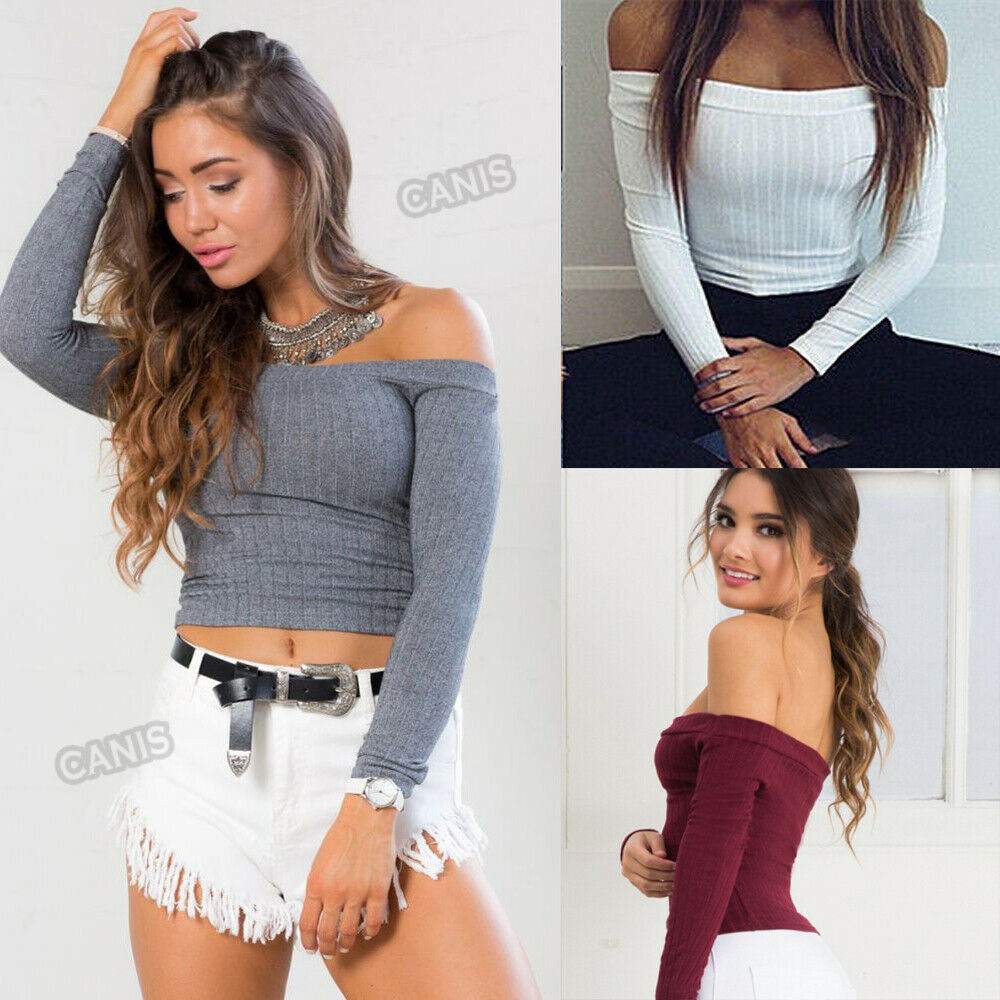 Fashion Women Off Shoulder Crop Top Knitted Short Tank Top Solid Fitness Vest Blouse Ladies Streetwear in Tank Tops from Women 39 s Clothing