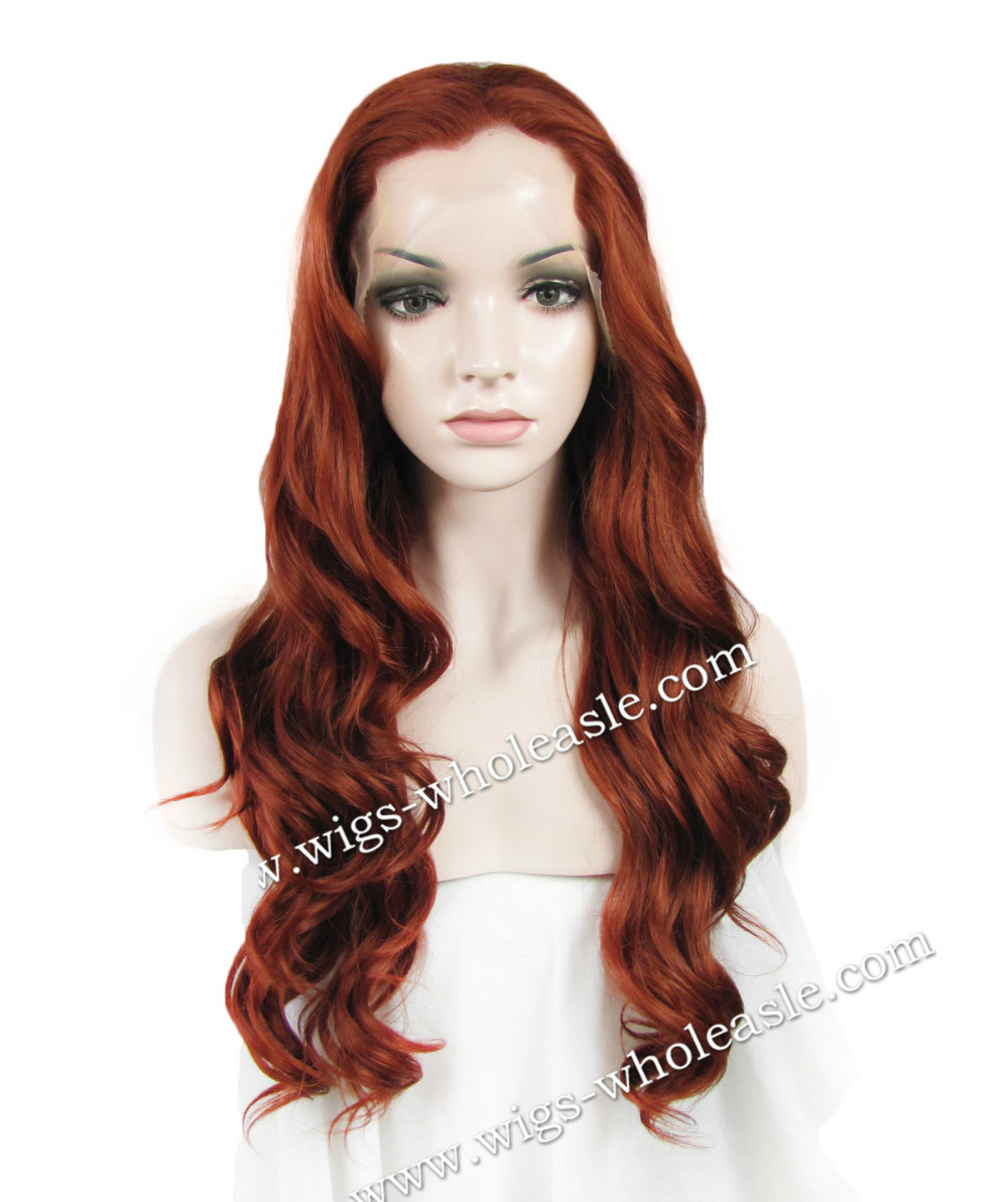 ФОТО Free Shipping Heat Resistant Wig 350 Auburn Wavy Front Lace Synthetic Hair Wig