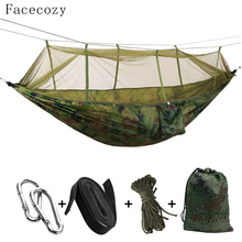 Facecozy Outdoor Parachute With Mosquito Net Hammock Tent Portable Nylon Hiking Camping Garden Travel Hunting Hanging Swing Bed double person hammock tent portable outdoor travel hangmat canping hiking hammock mosquito net garden tree hanging bed
