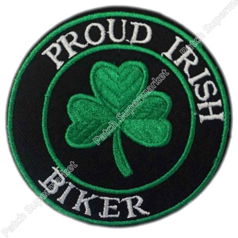 GREEN SHAMROCK PATCH IRISH CLOVER Embroidered Iron-On LARGE LUCKY IRELAND BIG
