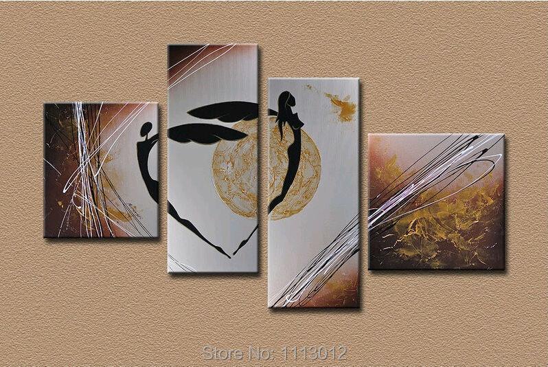 ručně malované abstraktní plátno malba moderní sada Umělecká malba pro Obývací pokoj Ložnice Dekor Dekorace Nástěnný milenec tanec 4 kus