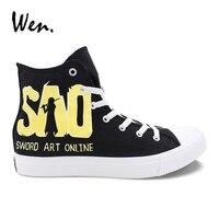 Wen Design Hand Painted Anime Shoes Sword Art Online Custom Men Women Canvas Sneakers High Top