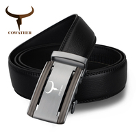 COWATHER New 2017 Top Cow Genuine Leather Belts Men Luxury Male Strap Alloy Automatic Buckle Belt