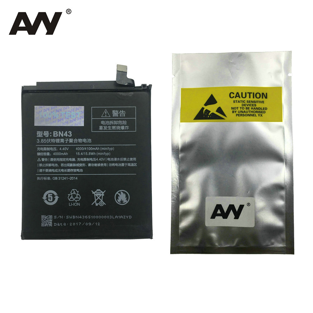 AVY Battery BN43 For Xiaomi Redmi Note 4X 3G+32G / For Redmi Note 4 global version Snapdragon 625 Mobile phone 4000mAh Batteries