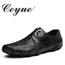 Ceyue большой размер 38-47 перфорации Мужские кожаные туфли Нескользящие резиновые ходить дышащая мужская повседневная обувь бизнес плоские мужские лоферы