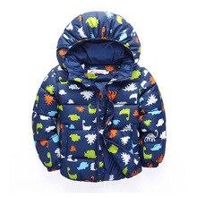 100 130CM Cute Dinosaur Winter Jacket Kids Boys Outerwear Coats Active Boy Windbreaker Cartoon Sport Suit