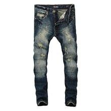High Quality Dark Blue Print Ripped Jeans Men Original Brand Jeans Masculino Denim Trousers Men`s Moto Biker Jeans B608