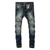 Fashion Dark Blue Print Jeans Men Original Brand Jeans Ripped Denim Trousers Men S Jeans High