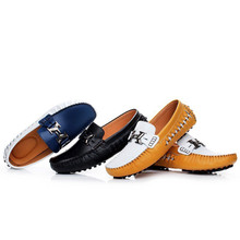 Men's Buckle Mixed Color Comfort formal Shoes Soft slip on Leather Loafers Zapatos Hombre zapatillas white Blue,black 3631