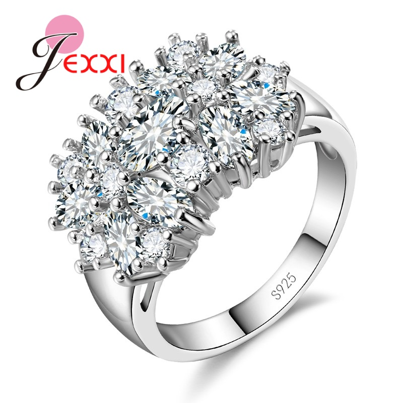 Jemmin Fashion Hot Multicolor Flower Shaped Zircon Crystal Holiday Christmas Wedding Party Ring Lady 925 Sterling Silver