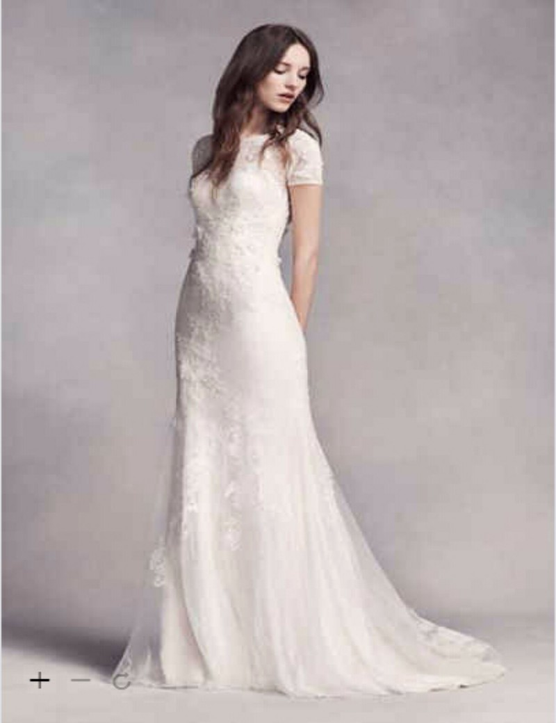 Custom made 2016 new free shipping white by short sleeve for Wedding dress styles for petite