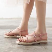 Summer Flat Heel Fashion Sandals Straw Knitted Roman Women's Sandals Cross Strap Pink Sandals