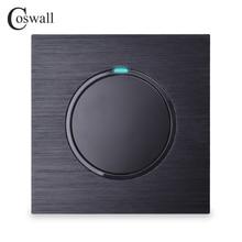 Coswall 1 כנופיית 1 דרך אקראי לחץ על/כיבוי קיר אור מתג עם LED חיווי שחור/כסף אפור מוברש אלומיניום מתכת פנל