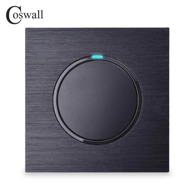 Coswall 1 Gang 1 Wayสุ่มคลิกเปิด/ปิดสวิทช์ไฟผนังที่มีไฟLEDสีดำ/สีเทาเงินแปรงอลูมิเนียมแผงโลหะ