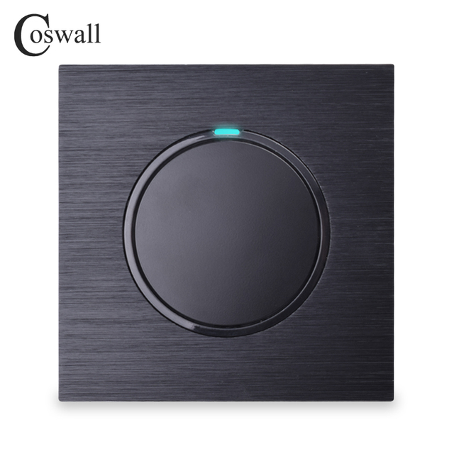 Coswall 1 Gang 1 Way Random Click On / Off Wall Light Switch With LED Indicator Black / Silver Grey Brushed Aluminum Metal Panel