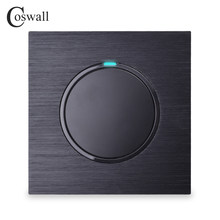 Coswall Luxurious 1 Gang 1 Way Random Click On / Off Wall Light Switch With LED Indicator Black Aluminum Metal Panel()