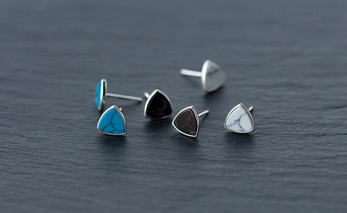 Real. 925 Sterling Silver Black /white/blue Turquoise triangle stud Earrings sterling-silver-jewelry geometric 8MM GTLE1021