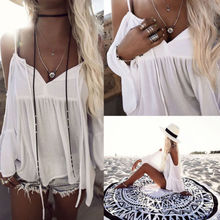 2017 Boho Summer Women's Off Shoulder Tops Long Batwing Sleeve Shirt Casual Blouse Loose V-neck Loose Shirt