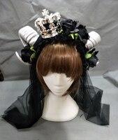 Demon Hoorns Hoofdband Volwassen Unisex Black Rose Crown Veil Hoofddeksels Kostuum Accessoire