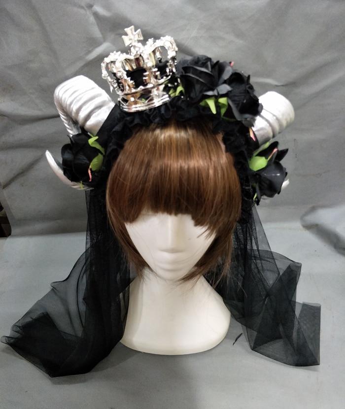 Demon Horns Headband Adult Unisex Black Rose Crown Veil Headpieces Fancy Dress Costume Accessory