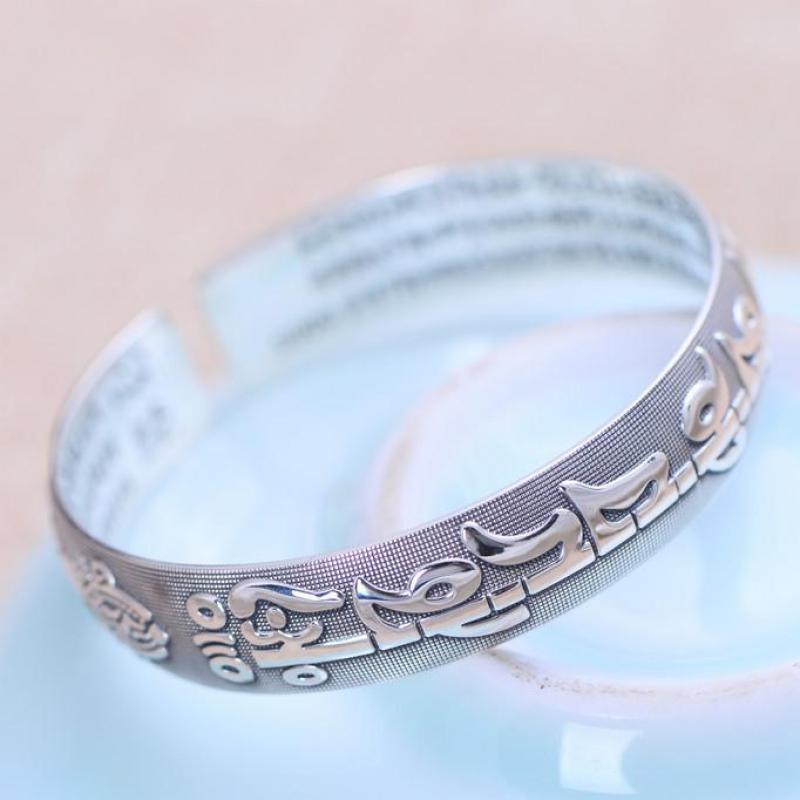 Vintage 999 Pure Silver Opening Mantra Cuff Bracelets For Women And Men Six Words The Vajra Sutra Buddhist Fine Jewelry