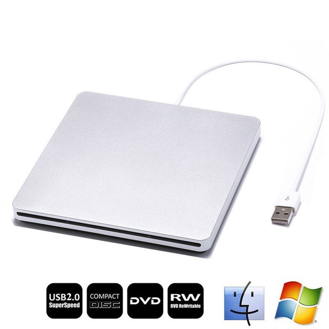 Drive Gravador de DVD externo USB 2.0 Slot de Carga CD ROM CD rw leitor óptico superdrive para apple imacbook pro computador portátil do ar pc