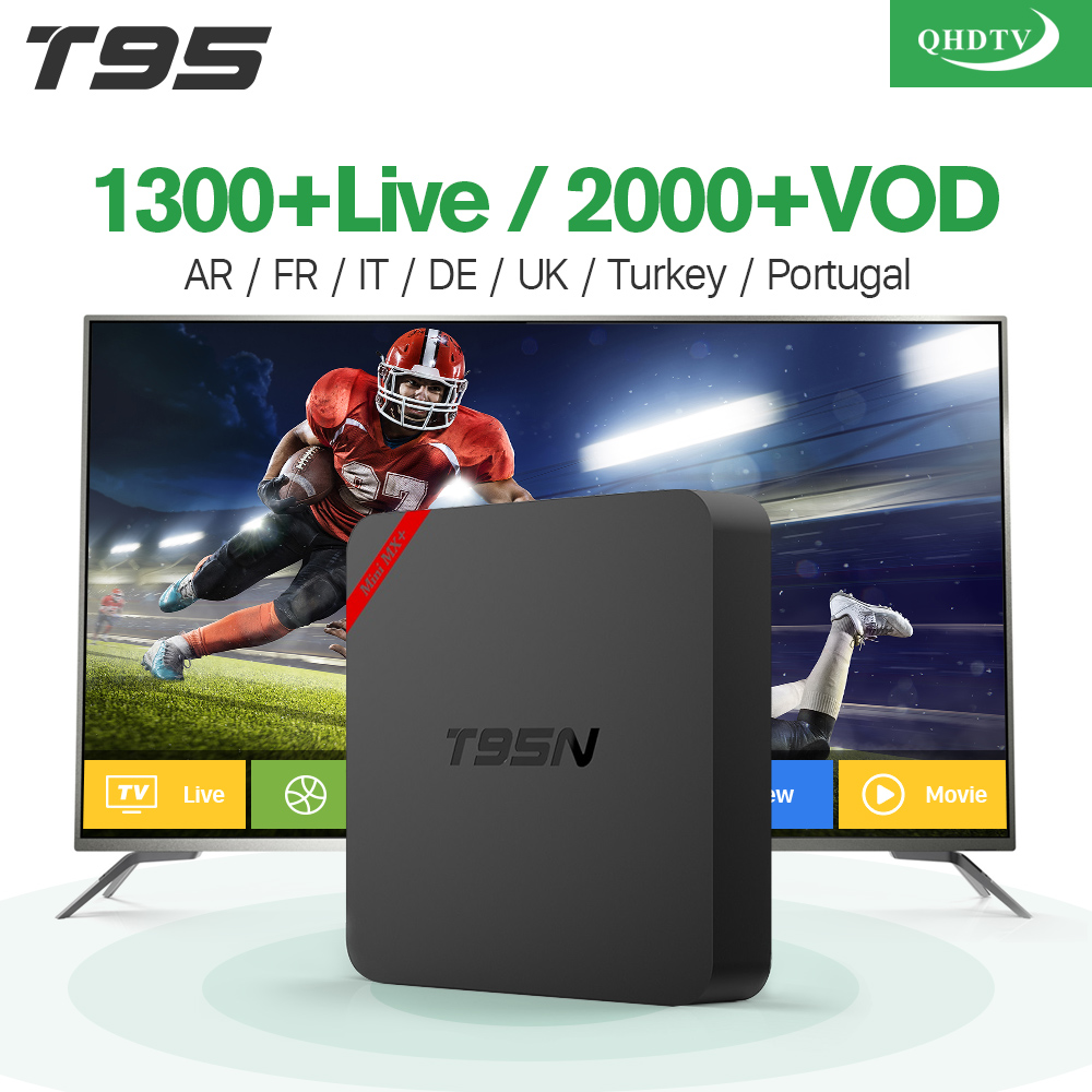 IPTV French Box T95N Android with 1 Year QHDTV IPTV Subscription IPTV Belgium Dutch Arab France VIP Sports Live French IP TV